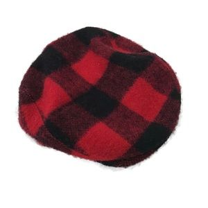 Vintage wool blend red plaid men hat cap men